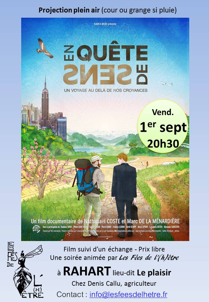 "Projection plein air du film documentaire ""En quête de Sens"""